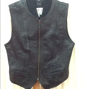 Black Leather Vest  Size Small